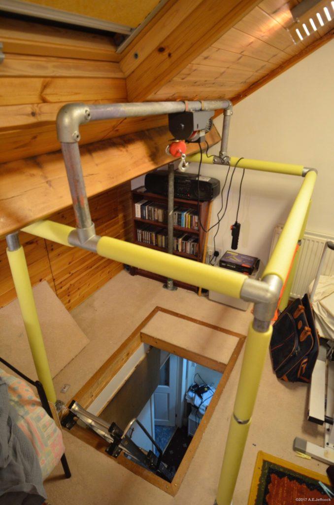 Scaffold frame for attic/loft hoist
